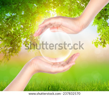 Hand hold Bubbles over green forest - stock photo