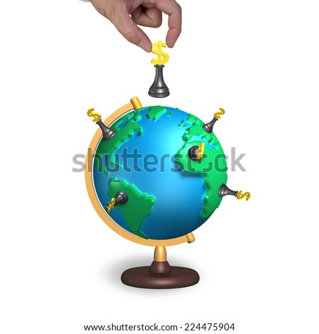 hand hold chess with 3d map terrestrial globe isolated on white - stock photo