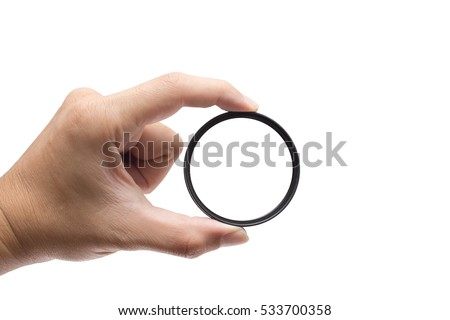 hand hold clear camera filter circle ring isolated on white with clipping path