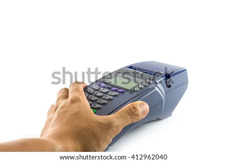 Hand hold credit card reader machine isolated on white background