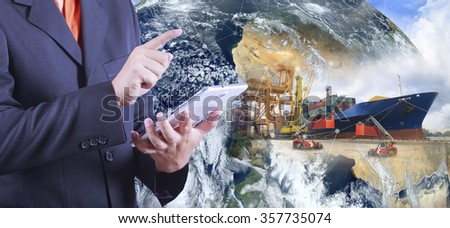 hand hold digital tablet calculat value Industrial Container Cargo freight ship at dusk for Logistic Import Export (Elements of this image furnished by NASA) - stock photo
