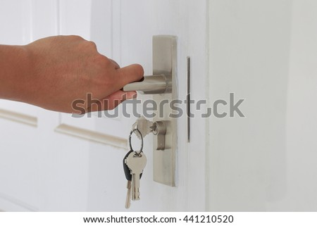 Hand hold door knob and open the white door as locksmith concept.