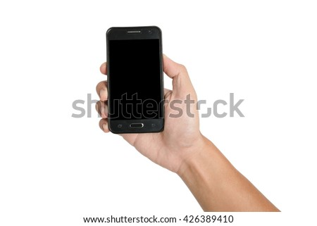 hand hold empty black screen mobile phone isolated on white background