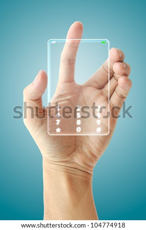 Hand hold future phone technology - stock photo
