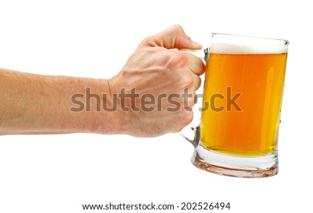 hand hold glass mug of beer isolated on white - stock photo