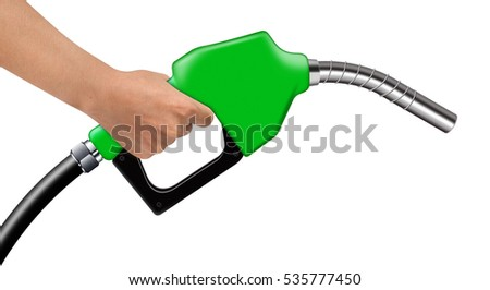 Hand hold green fuel nozzle on a white background