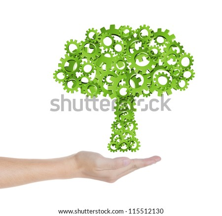 hand hold green tree of industrial gear, environmental concept - stock photo