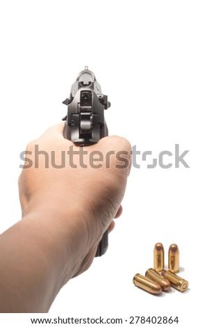 hand hold gun - stock photo