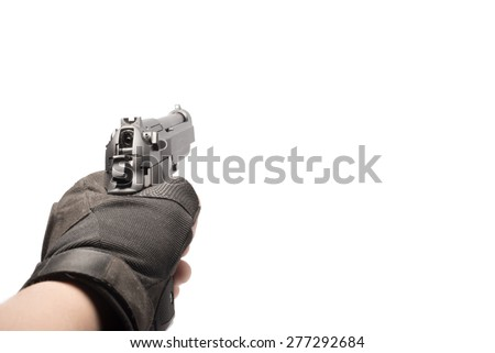 hand hold gun isolated on white - stock photo