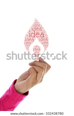 hand hold light bulb word cloud - stock photo