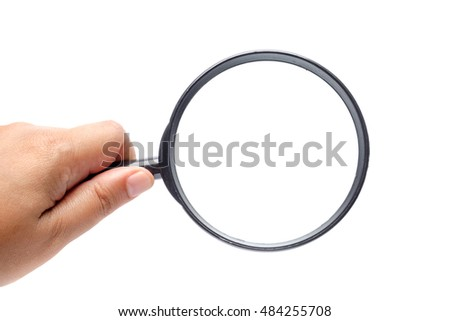 Hand hold magnifying glass over white background, copy space