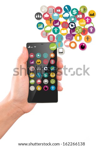 Hand hold Mobile phone with colorful application icons - stock photo