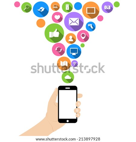Hand hold mobile phone with social networking media flat icons in white on circles  illustration - stock photo