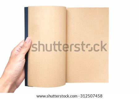 Hand hold open the book on white background (Focus on paper for write something) - stock photo