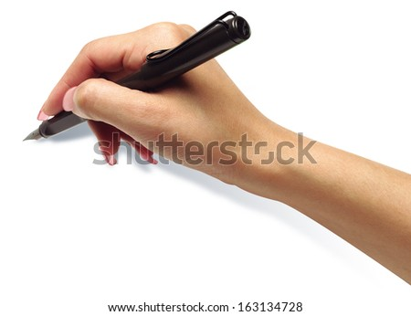 hand hold pen - stock photo