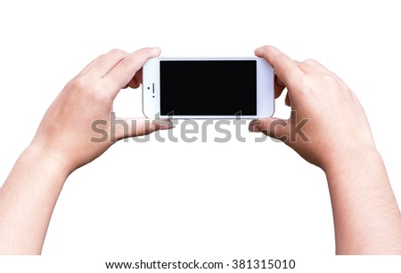 Hand hold phone isolated on white background