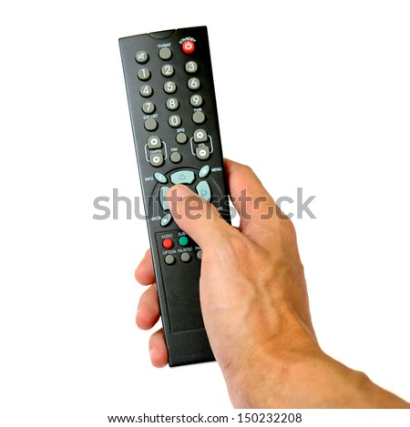 Hand hold remote control and pressing button
