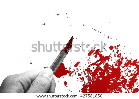 hand hold rusty knife cutter with grunge of blood and gore on white background, kill and murder concept.