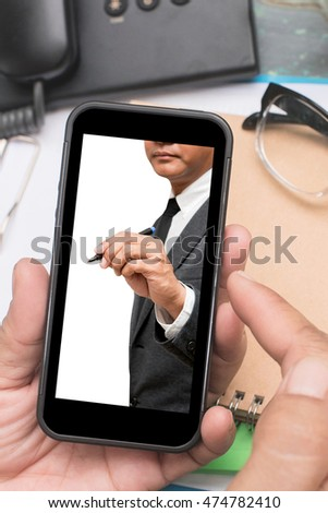 hand hold smart phone with picture of business man on screen