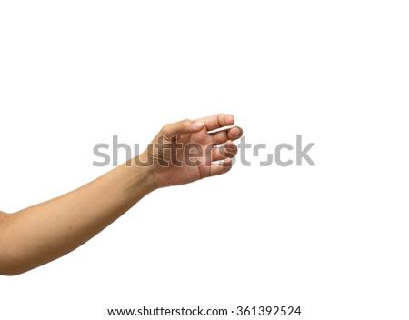 hand hold something isolated on white background - stock photo