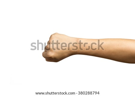 hand hold something on a white background - stock photo