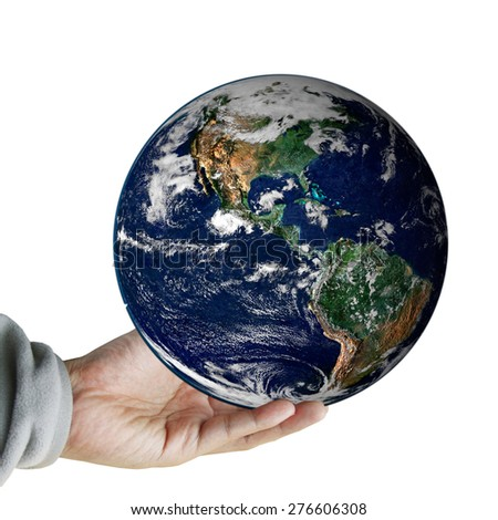 hand hold the earth ,including elements furnished by NASA - stock photo