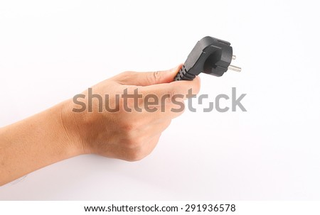 Hand hold the usb on white. - stock photo