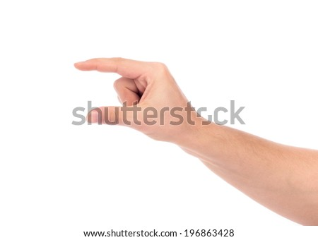 hand hold virtual business card, credit card or blank paper isolated on white background - stock photo