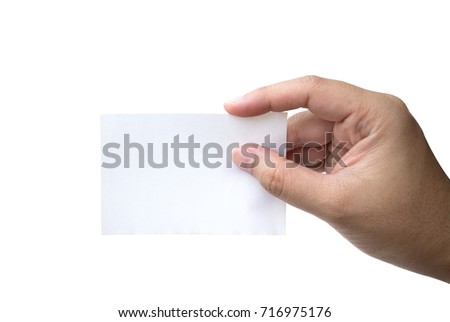 hand hold virtual business card or blank paper isolated on white background - Virtual Business Card