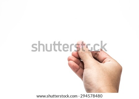 hand hold virtual business card Or Paper Isolated on white - stock photo