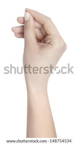 Hand Hold Virtual Card Isolated - stock photo