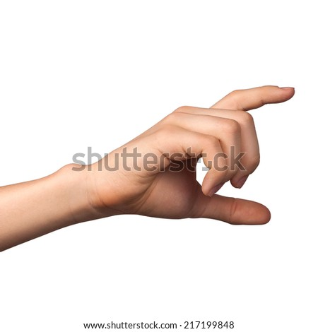 Hand hold virtual card or smart phone on white background - stock photo