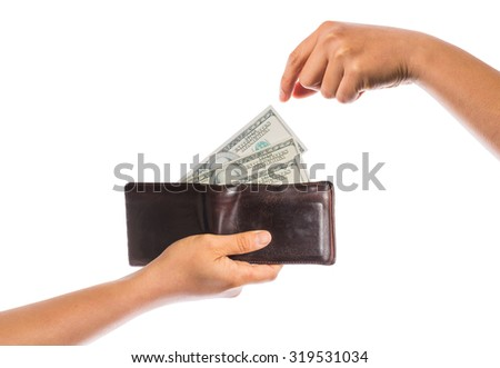 hand hold wallet with money isolated on white background - stock photo
