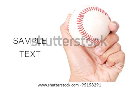 Hand Holding a Baseball with Space for text
