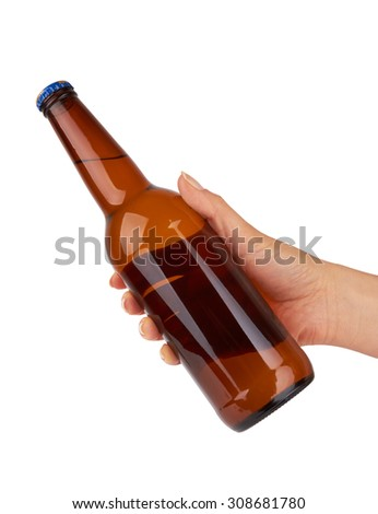 hand holding a beer bottle without label isolated on white background - stock photo