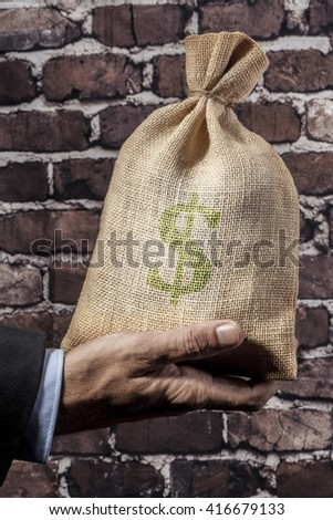 Hand holding a big sack of money