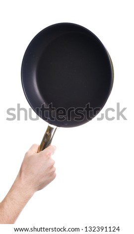 Hand holding a black frying pan isolated on white background - stock photo