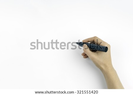 Hand holding a black marker isolated on white copy space - stock photo