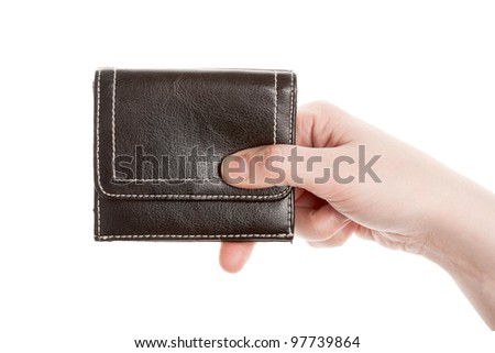 Hand holding a black wallet isolated on white