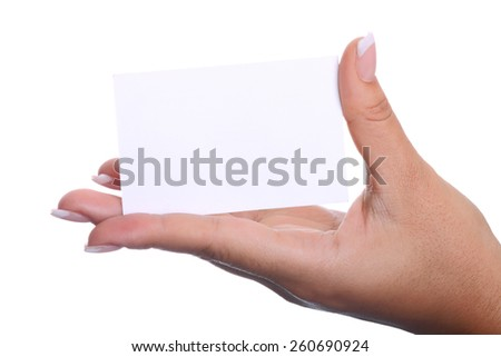 Hand holding a blank business card (Isolated)  - stock photo