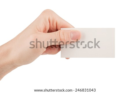 Hand holding a blank business card isolated on white