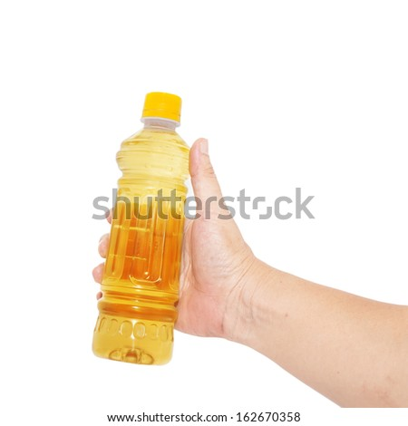 hand holding a bottle of water isolated