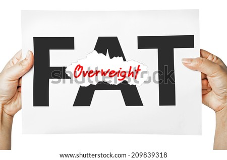 Hand holding a burning paper has FAT text in a middle and see Overweight text behind. Fat burn, Work out concept. - stock photo