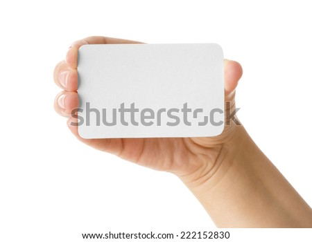Hand holding a business card isolated on white - stock photo