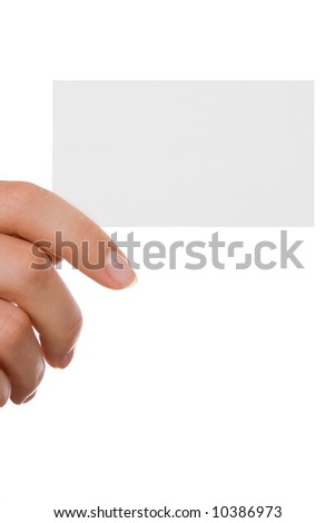 Hand holding a business card over white