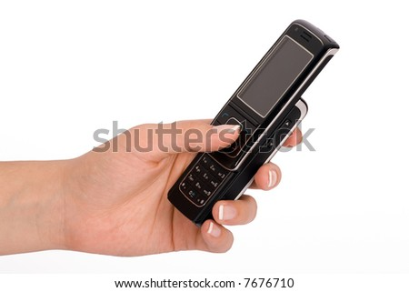 Hand holding a business mobile phone