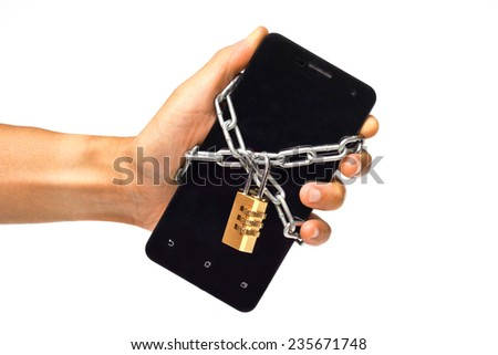 hand holding a chained smartphone - stock photo