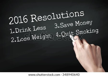 Hand holding a chalk and writing 2016 New year's resolutions