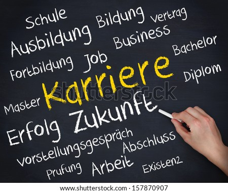 Hand holding a chalk and writing several german words about career on blackboard