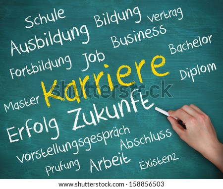 Hand holding a chalk and writing several words about career in german on green board